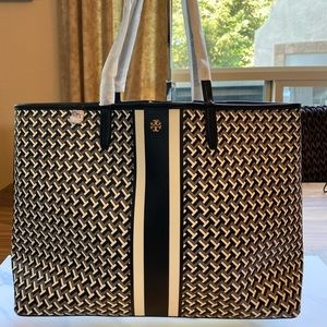 Tory Burch T Zag Leather Tote